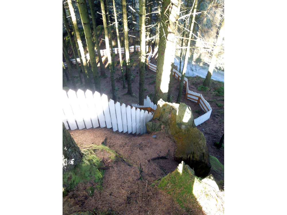 Picket fence Grizedale sculture. Photo Apr 2016